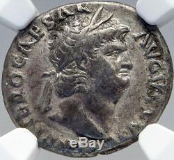 Nero Authentique Ancient Rome 64ad Originale Argent Monnaie Romaine Avec Jupiter Ngc I82639
