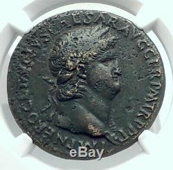 Nero Authentique Rome Antique Sestertius 65ad Coin Romain Avec Janus Temple Ngc I78890