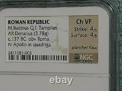 Ngc Anciens137 Bc Pièce D'argent République Romaine Denarius Baebius Tampilus Apollo