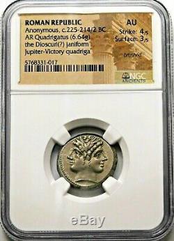Ngc Au 4 / 5-3 / 5 Anonyme. Quadrigatus Superbe C. 225-214 / 2 Bc Roman Silver Coin
