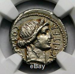 Ngc Au 4 / 5-4 / 5. Jules César. Denarius Rare Exquis. Pièce D'argent Romaine