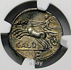 Ngc Au. C. Coelius Caldus. Denarius Superbe. Pièce D'argent République Romaine