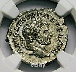 Ngc Au. Caracalla. Denier Superbe. Frère De Geta. Rome Antique Pièce D'argent