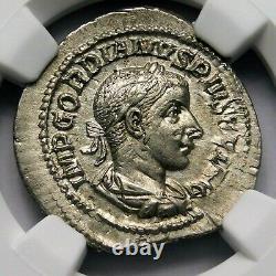 Ngc Au Gordien III Superbe Denier Vers Ad 240-243 Argent Romaine Ancienne Pièce De Monnaie