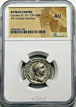 Ngc Au. Gordien Iii. Double-denier Superbe. Rome Antique Pièce D'argent