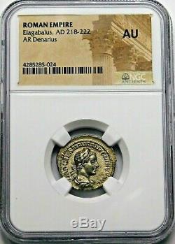 Ngc Au. Héliogabale. Excellente Denier, Frappé Ad 219. Argent Romaine Ancienne Pièce De Monnaie