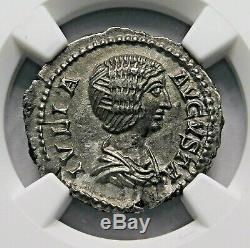 Ngc Au Julia Domna. Denier Superbe. Mère De Caracalla. Roman Silver Coin