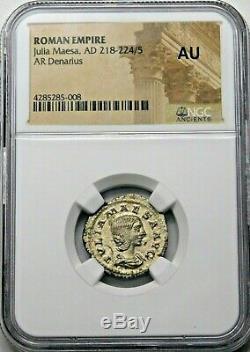 Ngc Au. Julia Maesa. Denarius Superbe. Pièce D'argent Romaine Antique