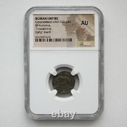 Ngc Au Roman Coin / Nummus Romulus & Remus & She-wolf 340ad De Epfig Hoard