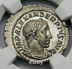 Ngc Au. Severus Alexander. Denier Exceptionnelle. Rome Antique Pièce D'argent