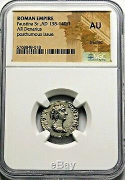 Ngc Au. Sr. Faustina Rare Denier. Mère De Marc-aurèle. Roman Silver Coin