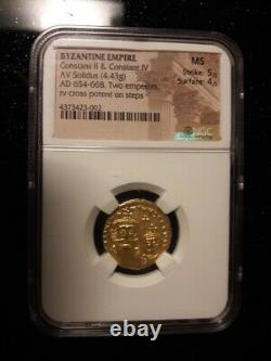 Ngc Byzantine Empire Ad 654-668 Gold Coin Ms 5/5 4/5 Eastern Roman Two Emperors