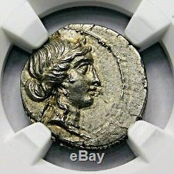 Ngc Ch Au 3 / 5-4 / 5 Jules César 48-46bc Superbe Rare Denarius Romain Silver Coin