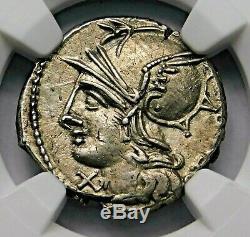 Ngc Ch Au 4 / 5-2 / 5 Baebius Qf Tampilus Denier 137 Bc République Romaine Pièce D'argent