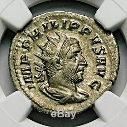 Ngc Ch Au. Philippe I. Superbe Double-denier. Rome Antique Pièce D'argent