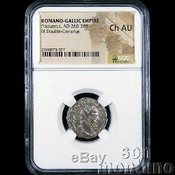 Ngc Choice Ch-au Postumus Pièce De Monnaie D'argent En Bi Double Denarius Romain Antique 260-269ad