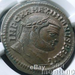Ngc Choix Au Ch Maximien Bronze Antique Romaine Bi Nummis Coin 286-310 Ad