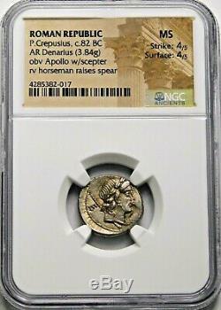 Ngc Ms 4 / 5-4 / 5. P. Crepusius. Denier Superbe. République Romaine Silver Coin