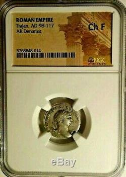 Ngc Romain Trajan Ar Denarius 98-117 Certifié Choix Argent Fin Coin Noir Et Blanc