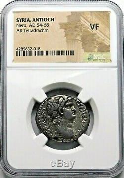 Ngc Vf. Nero (ad 54-68) Superbe Tétradrachme. Pièce D'argent Romaine Antique