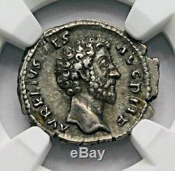 Ngc Xf Marcus Aurelius. Superbe Denarius. Père De Commode. Pièce D'argent Romaine