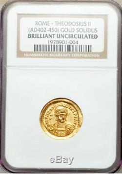 Or Solidus Théodose II 402-450 Brillant Uncirculated Par Ngc Roman Coins