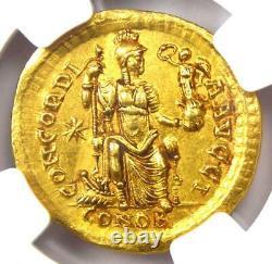 Ouest Romain Honorius Av Solidus Gold Coin 393-423 Ad Certifié Ngc Choix De L'ua