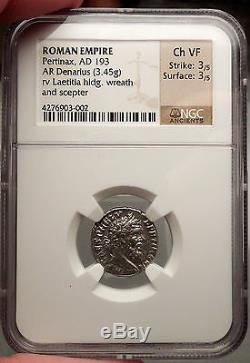 Pertinax 293ad Rare Rome Denarius Ngc Certifié Ch Vf Monnaie Romaine Ancienne I53833