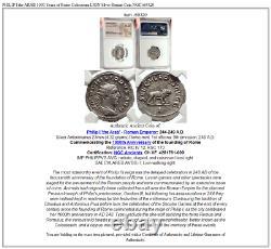 Philip I L'arabe 1000 Ans De Rome Colosseum Lion Argent Pièce Romaine Ngc I69320
