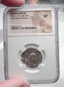 Philip I L'arabe 1000 Ans De Rome Twins - Wolf Silver Roman Coin Ngc I60201