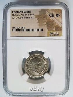 Philippe Ier Empire Romain 244-249 Ap. Jc Ngc Ch Xf Pièce De Monnaie D'un Ange Antique Avec Double Denier