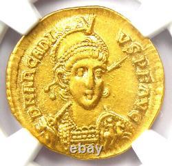 Pièce D'or De L'ancien Arcadius Romain Av Solidus 383-408 Ad Certifié Ngc Au