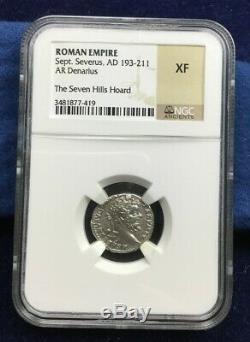 Pièce De Monnaie Ancienne Septime Sévère Argent Denarius Ngc Extrêmement Fin Xf Romain Rare
