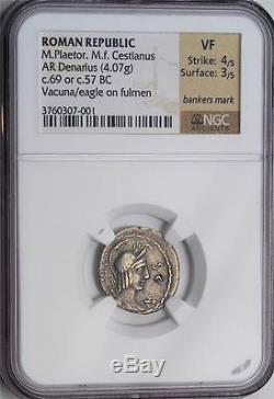 Pièce De Monnaie Denarius De La République Romaine Du Mbac Vf M. Plaet M. F. Cestianus 69 B. C. Vacuna Tête