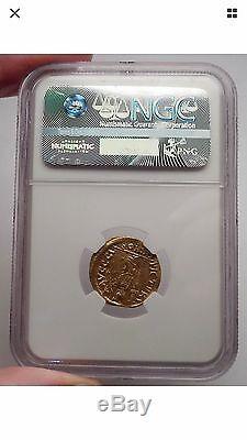Pièce De Monnaie Zeno 476ad Authentic Roman Ngc Certifiée Ch Xf Gold Solidus
