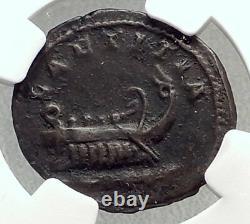Postumus 261ad Gallic Ancient Silver Roman Coin W Galley Cologne Ngc I72658