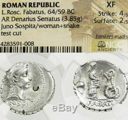 Prêtresse Âge Serpent Pompey Jules Cesar Ngc Xf Roscia Ancient Roman Silver Coin