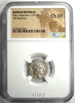 Pub Romain Crepusius Ar Denarius Horse Coin 82 Bc Certifié Ngc Choice Xf (ef)
