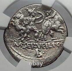République Romaine 100bc Rome Combat La Bataille Barbare Ancienne Pièce D'argent Ngc I60185