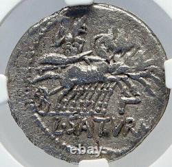 République Romaine 104bc Rome Antique Silver Coin Roma Saturn Chariot Ngc I82613