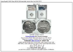 République Romaine 108bc Rome Dioscuri Gemini Galley Ancien Argent Monnaie Ngc I78534