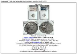 République Romaine 114bc Rome Pièce D'argent Antique Avec Roma & Horse Statue Ngc I78536