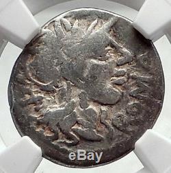 République Romaine 116bc Rome Antique Argent Monnaie Jupiter Cheval Chariot Ngc I72761