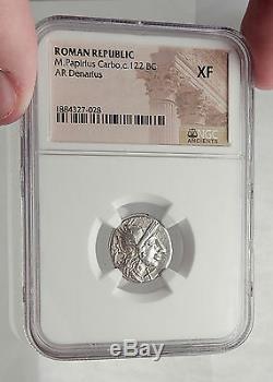 République Romaine 122bc Rome Antique Argent Monnaie Jupiter Cheval Chariot Ngc I62457