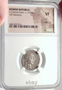 République Romaine 123bc Rome Authentique Pièce D'argent Antique Roma Chariot Ngc I70176