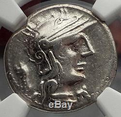 République Romaine 131bc Rome Apollo Chariot Véritable Antique Pièce D'argent Ngc I59855