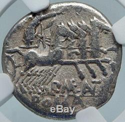 République Romaine 132bc Authentique Argent Ancienne Pièce De Monnaie Victoire Chariot Ngc I85411