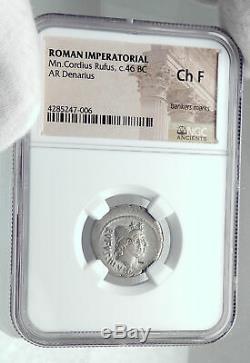 République Romaine 46bc Argent Jules Cesar Famille Ancienne Pièce De Monnaie Gemini Ngc I81273