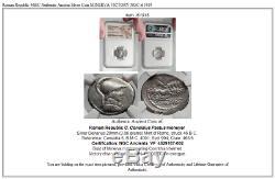 République Romaine 46bc Authentique Argent Ancienne Pièce De Monnaie Minerva Victoire Ngc I61915