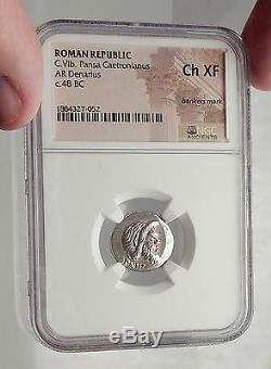 République Romaine 48bc Rome Authentique Argent Ancienne Pièce De Monnaie Pan Jupiter Ngc I62465